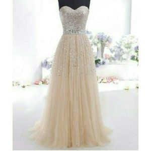 Champagne color Formal, Prom dress